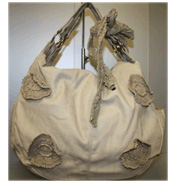 Crochet Flower Bag in Cream