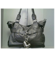 Heart Charm Bag in Grey